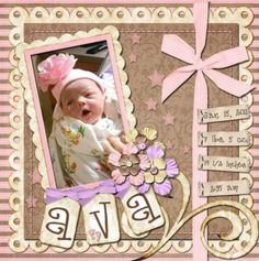 Learning to scrapbook will take some commitment and it is really like a piece of art. When you learn the techniques to scrapbook you will be able to enjoy, Scrapbook Bebe, Baby Girl Scrapbook, Baby Scrapbook Pages, Scrapbook Designs, Scrapbook Page Layouts, Scrapbook Paper Crafts, Scrapbook Cards, Scrapbooking Ideas, Scrapbook Examples