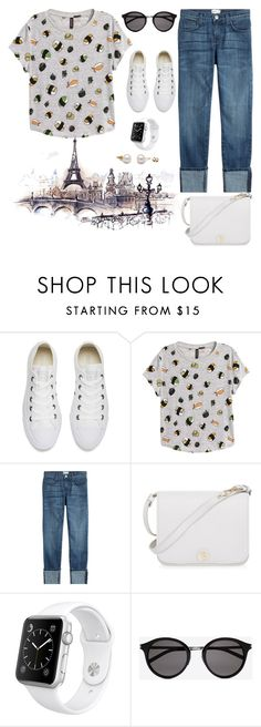 """""""Walking in Paris🗼"""" by jasive-asseff-jamous ❤ liked on Polyvore featuring Converse, H&M, Current/Elliott, Furla, Apple and Yves Saint Laurent"""