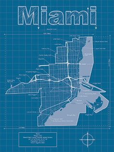 Detroit map original artwork detroit blueprint wall art miami artistic blueprint map 3000 via etsy malvernweather Image collections
