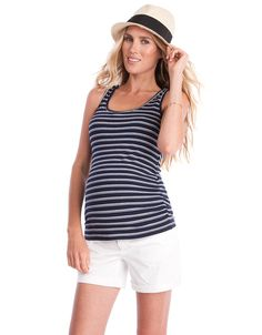 Soft stretch viscose   Snap nursing access  Ruched sides  Long line cut    A versatile addition to your new wardrobe, the Navy Stripe Maternity & Nursing Tank is perfect before, during & after pregnancy. Made in soft stretch viscose and stylishly ruched at the sides, it offers a flexible fit throughout pregnancy & skims flatteringly over your figure after baby is born. Making a seamless transition into your new mom style, discreet snaps at the shoulder open up to reveal a clever hidden…