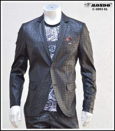 99edc55e0a76d Men s Fashion black Fitted Blazer shiny with Two Buttons Snake pattern by  Mondo