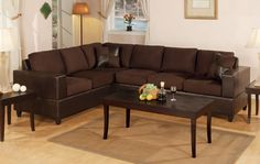 Chocolate Faux Leather Reversible Sectional