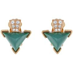 Gerard Yosca Green Stone Triangle Clip Earrings (€87) ❤ liked on Polyvore featuring jewelry, earrings, green, baguette earrings, earrings jewelry, vintage clip on earrings, green jewelry and sparkly earrings