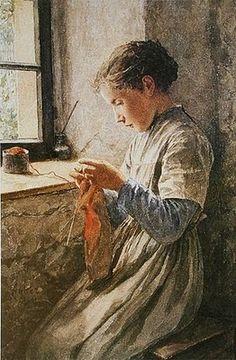 """Girl Knitting"" by Albert Anker (Swiss, 1836-1910) << #art #portrait #knitting #knitter #young #interior #window"