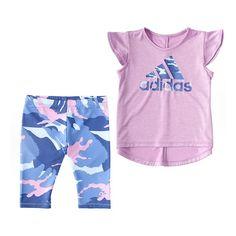 Heat Transfer, Flutter Sleeve, Camouflage, Badge, Capri, Tights, Adidas, Sport, Purple