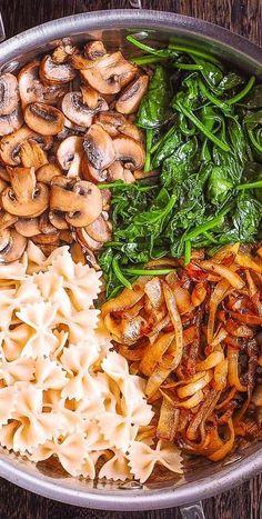 Chicken Pasta Recipes, Healthy Pasta Recipes, Vegetarian Recipes, Cooking Recipes, Spinach Pasta, Creamy Spinach, Creamy Pasta, Spinach Stuffed Mushrooms, Vegetarian