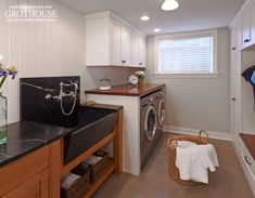 Laundry Rooms with African Mahogany Counters #CustomWoodCountertops #GrothouseThings  https://www.glumber.com/