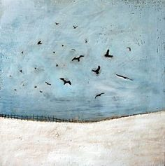 """Four and Twenty Blackbirds"", Wax on wood by #artist Susan Wallis"