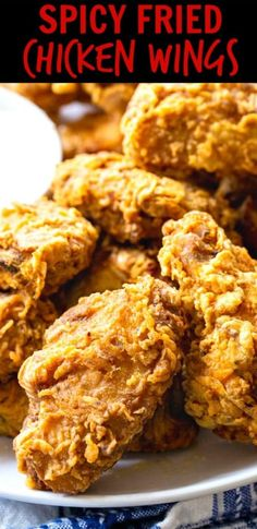 Spicy Fried Chicken Wings are deep-fried until wonderfully crispy on the outside but still juicy on the inside.They have a great spicy kick to go along with the crunch! Making Fried Chicken, Fried Chicken Recipes, Roasted Chicken, Fried Chicken Nuggets, Baked Fried Chicken, Fried Chicken Breast, Breaded Chicken Wings, Deep Fry Chicken Wings, Recipes