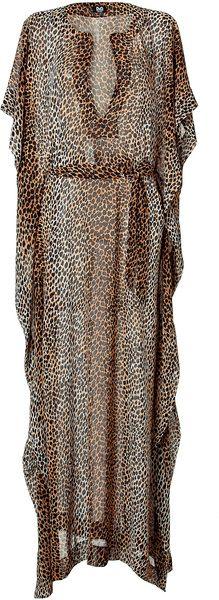 D Leopard Printed Belted Kaftandress in Animal (leopard)