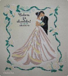 Картина панно рисунок Свадьба Вышивка крестом Свадебная метрика Канва Нитки