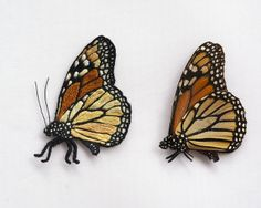 Two Butterflies by criswa, via Flickr - one of these is embroidered. Amazing!