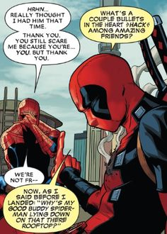 Deadpool and Spiderman. Marvel Dc Comics, Marvel Heroes, Marvel Avengers, Marvel Funny, Deadpool X Spiderman, Deadpool Stuff, Fantasy Anime, Spideypool, Superfamily