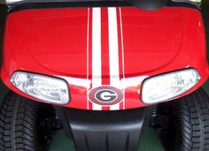 Add a racing stripe golf cart decal to the front cowl of your cart for a custom and unique look. Custom Golf Cart Bodies, Custom Golf Carts, Golf Cart Tires, Golf Carts For Sale, Golf Cart Accessories, Club Face, Golf Wear, Racing Stripes, Fender Flares