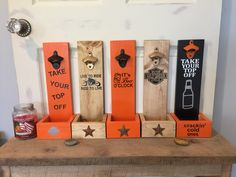 Bottle openers with cap catcher. Harley Davidson and many others to choose from or personalized with your favorite name or quote.   https://www.etsy.com/shop/BucksBarnWorks