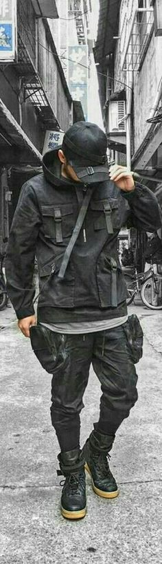 Modern Outfits, Urban Outfits, Casual Outfits, Men Casual, Minimal Fashion, Urban Fashion, Mens Fashion, Cyberpunk Fashion, Next Clothes