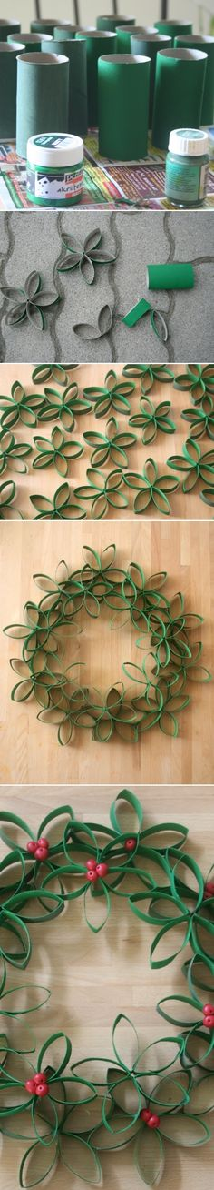 Toilet Paper Roll Wreath Crafts and DIY Community - For Christmastime! Christmas Projects, Holiday Crafts, Christmas Wreaths, Christmas Crafts, Christmas Decorations, Christmas Ornaments, Christmas Paper, Homemade Christmas, Spring Crafts