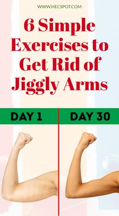 Jiggly arms can feel embarrassing and uncomfortable, especially in summer. Therefore, here are 6 simple exercises to get rid of jiggly arms. Fitness Workouts, Fitness Motivation, Toning Workouts, Barre Workout, Easy Workouts, Easy Fitness, Fat Workout, Fitness Diet, Tummy Workout
