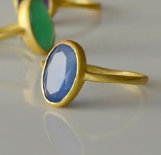 Gold Ring  Blue Chalcedony Gemstone Ring  Brushed by phoebemax, $42.00