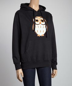 Look what I found on #zulily! Black Owl Hooded Sweatshirt by Sweet Girl #zulilyfinds