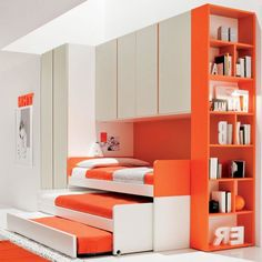 Cool Kids Bedroom Design With Bright Orange White Color Plywood Ikea Triple Trundle Beds Under Book