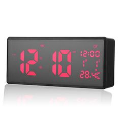 Temperature Instruments Lcd Digital Wall Clock Table Desktop Display Alarm Clock Modern Temperature Thermometer Humidity Hygrometer Snooze Calendar Silv Refreshing And Beneficial To The Eyes Tools