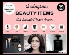 Beauty-Items-Instagram-Highlight-Icons Instagram Grid, Free Instagram, Instagram Tips, Instagram Story Template, Instagram Story Ideas, Social Media Icons, Social Media Graphics, Instagram Settings, Icon Photography