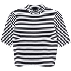 Monki Leila top (72 MXN) ❤ liked on Polyvore featuring tops, t-shirts, shirts, crop tops, sleek stripes, stripe tee, stripe t shirt, cropped tees, polo collar t shirt and high waisted shirts