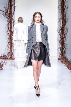Rachel Zoe | Fall 2016 Ready-to-Wear | 06 Grey coat, white long sleeve blouse and black leather mini skirt