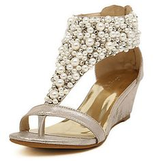 Faux Leather Women's Wedge Heel Wedges Sandals Shoes With Imitation Pearl(More Colors) – USD $ 39.99