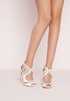 Laser Cut Heeled Sandals White