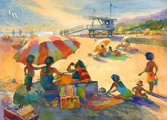 Will Rogers State Beach, Late Summer, watercolor art by Sid Bingham – California Watercolor Arches Watercolor Paper, Watercolor Logo, Watercolor Paintings, Late Summer, Summer Art, Art Prints For Sale, Fine Art Prints, Sunflower Vase, Coastal Art