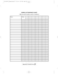 A vertical attendance chart for a teacher to track