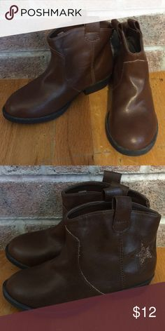 Girls brown faux Leather booties Please feel free to ask any questions or make an offer, and as always THANK YOU for shopping my posh closet! Xoxo -Tish Faded Glory Shoes