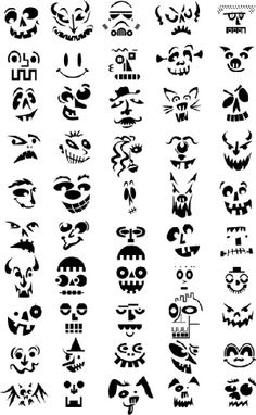 Printable Pumpkin Carving Patterns by Alejandra38 Art Halloween, Holidays Halloween, Halloween Pumpkins, Happy Halloween, Halloween Decorations, Vintage Halloween, Zombie Pumpkins, Halloween Stencils, Halloween Clothes