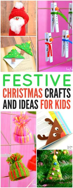 Festive Christmas Crafts for Kids. A ton of Christmas ideas for kids to do. #christmas #christmascrafts #christmascraftsforkids
