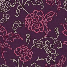 20.5 In. W Purple, Magenta and Taupe Stylized Linear Leaf and Flower on a Woven Background...