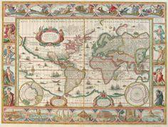"""Nova Totius Terrarum Orbis Geographica ac Hydrographiva Tabula Een nieuwe Geographie van geheel het Land der Wereld met Hydrografische Tafel"""" Willem Janszoon Blaue Amsterdam, circa 1640 Auteursrecht RUIMSCHOOTS verlopen"""