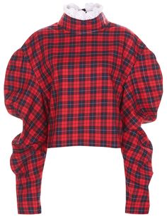 Red Plaid Check Collar Top | A.W.A.K.E. | Avenue32