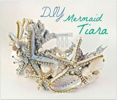 DIY seashell Tiara using a dollar store crown. Make this easy Crown using a dollar store Tiara and transform it in to this magnificent Mermaid Crown for Halloween or just to have in your collection! Visit my website to see the full tutorial and purchase Mermaid Halloween Costumes, Halloween Hair, Holidays Halloween, Couple Halloween, Diy Mermaid Costume, Siren Costume, Pretty Halloween, Halloween 2015, Mermaid Tiara