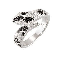 Black Spinel & Diamond Snake Ring