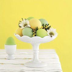 Easter egg centerpiece in milk-glass pedestal bowl