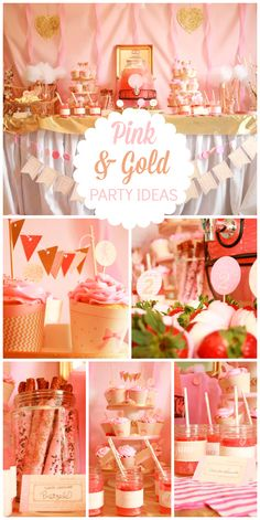 A Tutus & Ties pink & gold girl birthday party with lovely decorations, cupcakes and chocolate covered strawberries! See more party planning ideas at CatchMyParty.com!