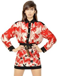 Love this:  FAUSTO PUGLISI Red Silk Twill Palm Shirt @Lyst