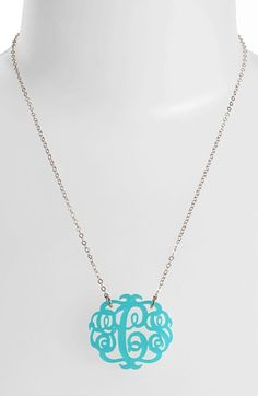 Women's Moon and Lola Medium Oval Personalized Monogram Pendant Necklace - Snow/ Gold (Nordstrom Exclusive)