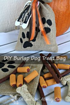 DIY Burlap Dog Treat Giftbags for the Holidays - #TreatThePup