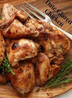 Date Glazed Roast Chicken - easy recipe to make for or near Tu B'Shvat