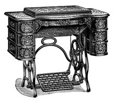 Free Vintage Treadle Sewing Machine Clip Art (machine closed)