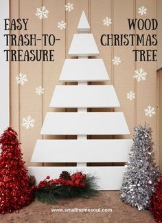 I love this Wooden Christmas Tree made from scrap pieces of trim board. : I love this Wooden Christmas Tree made from scrap pieces of trim board. Christmas Tree Crafts, Wooden Christmas Trees, Christmas Projects, Holiday Crafts, Christmas Holidays, Christmas Decorations, Christmas Ornaments, Holiday Decor, Pallet Christmas