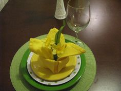 Daffodil Delight--Shamrock and Sunflower yellow with a spotted plate from Walmart and a fancy napkin fold.